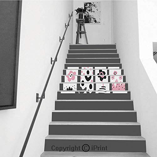13Pcs Stair Sticker Decals 3D Creative Building Stair Risers Tiles Wallpaper Mural Self-adhesive,Cute kid drawing set Hand drawn posters in scandinavian style for children room design posters or ban