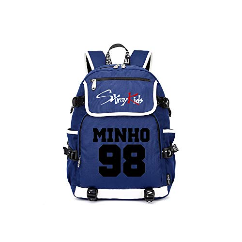 (Stray Kids Casual Backpack School Backpack High Capacity Daypack Vogue Printed Daypack Trekking Rucksack Unisex (Color : Blue19, Size : 37 X 16 X 45cm))