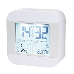 Talking Alarm Clock with 3 Alarms, Snooze, Smart Light, Wake You Up Softly, Easy for Kids, Bedroom, Travel