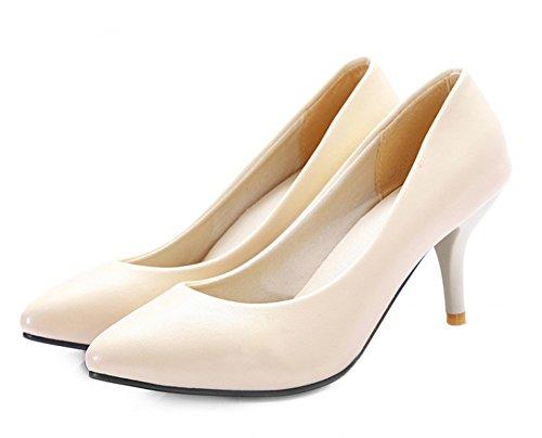 Aisun Damen Elegant Spitz Zehen Kunstleder Low Top Stiletto High Heel Business Pumps Beige