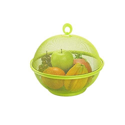 Almacenamiento de la cocina Forma de manzana Malla Hierro Cesta de frutas Encimera de cocina Frutero Tenedor de vegetales con tapa, Mesa de comedor Decoracion Caja de recogida,Green