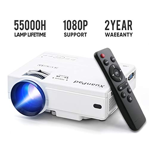 Mini Projector 2019 Upgraded Portable Video-Projector,55000 Hours Multimedia Home Theater Movie Projector,Compatible with Full HD 1080P HDMI,VGA,USB,AV,Laptop,Smartphone (Best Mini Projector For Business Presentations)