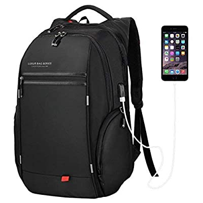 LUXUR Business Laptop Backpack,Travel Anti Theft Laptops Backpack USB Charging Port,College Back to School Bookbags for Men&Women Fits 15.6 Daypack,Black
