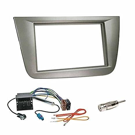 Set de montaje: Marco de montaje de radio de coche de doble DIN, color gris + quadlock, adaptador de radio ISO, cable con adaptador de alimentación phantom ...