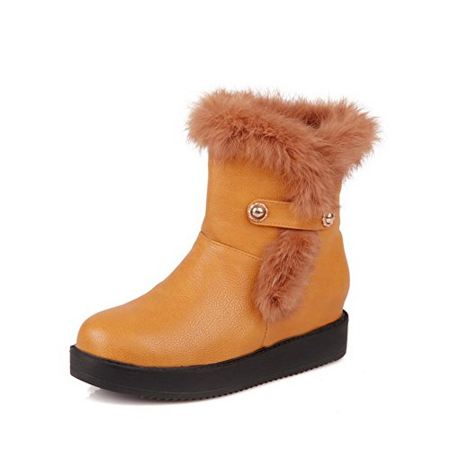 5 Button Boots Yellow Synthetic with Closed M Leather Round Kitten Heels 5 Womens US Solid B AmoonyFashion Toe f68wPcq