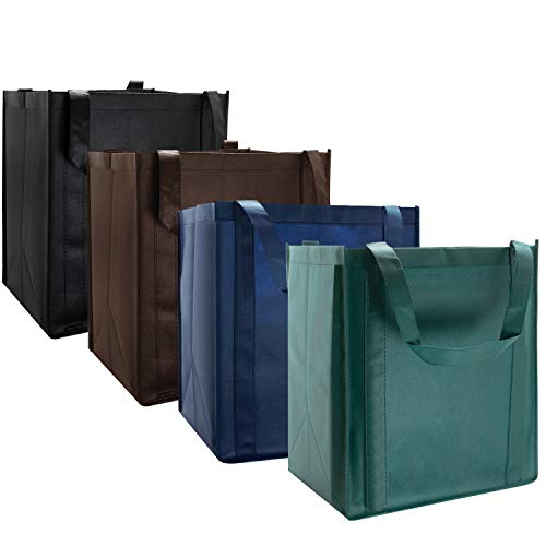 Incredible Packaging - Large Super Strong Reusable Grocery Bags - Reinforced Handle - Washable - Stand-up PL Bottom - Non-Woven. 10 Count (Assorted)