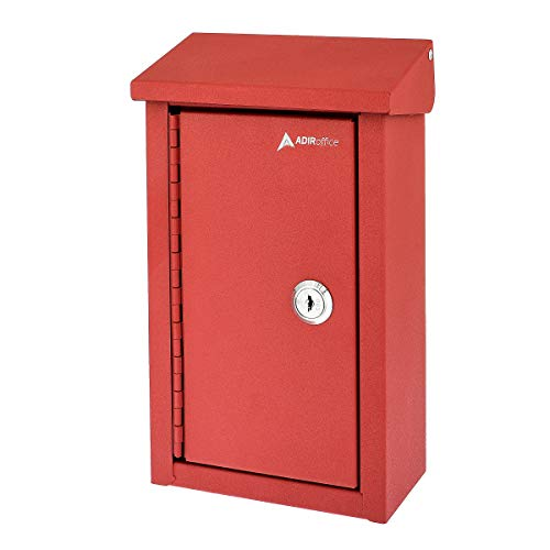 AdirOffice Outdoor Large Key Drop Box - Commercial Grade Heavy-Duty Storage Box - Safe & Secure Parcel & Packages - for Home & Business Use (Red)