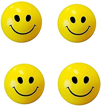 ToyStack Stress Relieve Decorative Smiley Squeeze Ball for Kids Smile/Blood Circulation (Pack of - 4)