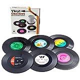 Vinyl Record Drink Coaster Set - 6 Pack Retro