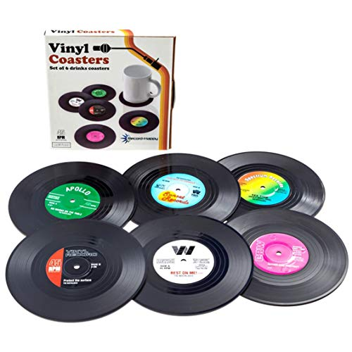 Vinyl Record Drink Coaster Set - 6 Pack Retro Colorful Stylish Tabletop Protection Disks by Record-Happy. Rubber Backside Prevents Beverage Furniture Damage - Great Gift for Music Enthusiasts 4.2 - Art Photo Promo