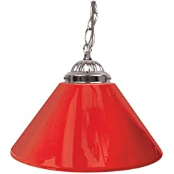 "Trademark Gameroom Red Single Shade Gameroom Lamp, 14"" (Silver Hardware)"