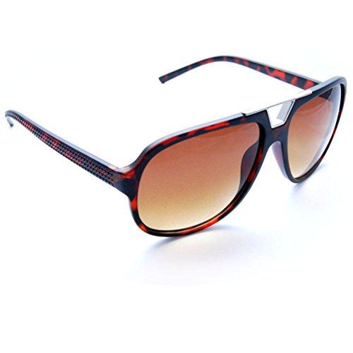 Brown Frame Tortoise (SunGlaz - Classic Square Frame Metal Accents Flat Top Aviator Sunglasses (Tortoise, Brown))