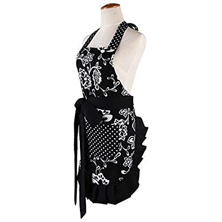 Extra-Long Tie Surblue 100/% Organic Cotton Reusable Women Hem Apron with Two Pocket Black-2PC