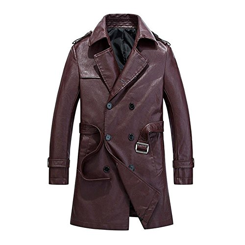 Hzcx Fashion Men's Faux Leather Double Breasted Long Trench Coats With Belt 2016110601-120-WI-US S(34) TAG M