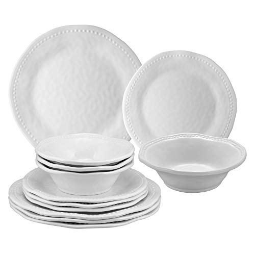 Gourmet Art 12-Piece Beaded Heavyweight and Durable Melamine Dinnerware Set, Service for 4. Includes Dinner Plates…