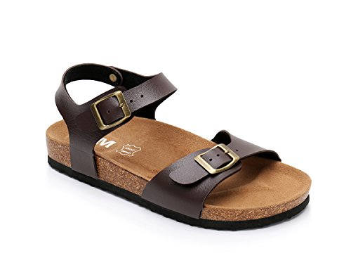Women Leather Cork Sandals Arizona Slide Shoes (US 10, Brown) (Leather Slides Casual)
