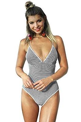 CUPSHE Women's Simple Living Stripe One-Piece Swimsuit Bathing Suit