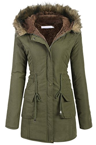 Belted Lined Coat (Zeagoo Womens Military Hooded Warm Winter Faux Fur Lined Parkas Anroaks Long Coats,Style 2: Army Green 1,Small)