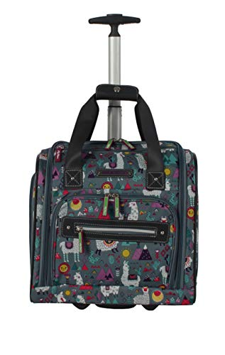 Lily Bloom Designer 15 Inch Carry On - Weekender Overnight Business Travel Luggage - Lightweight 2- Spinner Wheels Suitcase - Under Seat Rolling Bag for Women (One Size, Llama Mama)