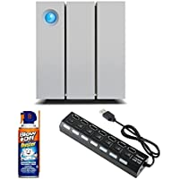 Lacie 2Big 12TB Thunderbolt 2 with 7-Port USB 3.0 Hub & Blow Off Air Duster Cleaner (3.75oz.)