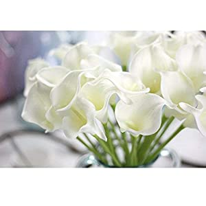 KRexpress 18pcs Home Garden Hotel Party Event Christmas Wedding Gift Decoration Artificial Flowers Calla Lily,White