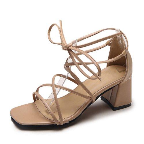 JUWOJIA Señoras Sandalias De Tacón Alto Cross-Tied Lace-Up Zapatos De Tacón Cuadrado Tobillo Sandalias De Mujer Beige