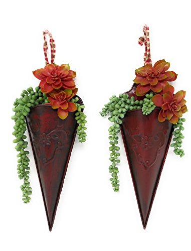 Wall Planter Hanging Metal Cone Succulent Air Decorative Plants Indoor Outdoor (Set of 2) Burgundy