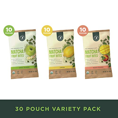 Jade Leaf - Organic Matcha Fruit Bites - Real Fruit Infused with Matcha Green Tea - Variety Pack [30 Pouches]