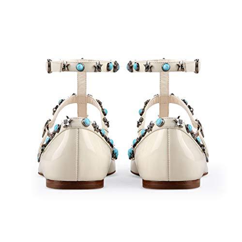 Femmes Plates Bride Hauteur Du Chaussures Pointé Mode Soirée Réglable Boucle Rivets Chaussures Type Cheville De À T Colorés 1Cm La Talon Simples B Chaussures Banquet La rxrwI18Bq