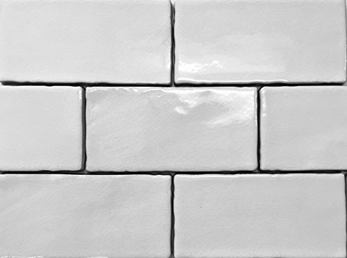 3x6 White Crackled Ceramic Subway Tile Backsplash