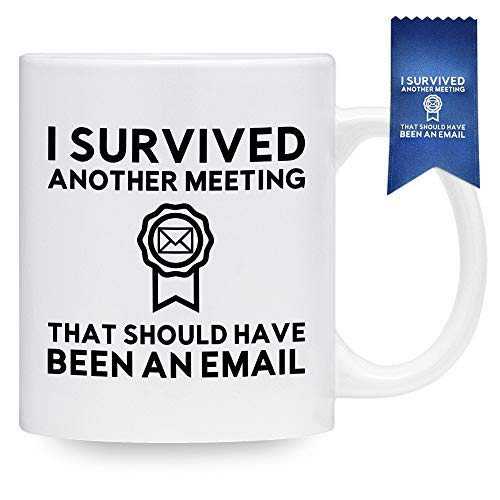 Funny Coffee Mug for Work - I Survived Another Meeting That Should Have Been An Email Mug with Matching Blue Ribbon - Gift Idea for Employee, Coworker, Boss, Friend (11 oz)]()