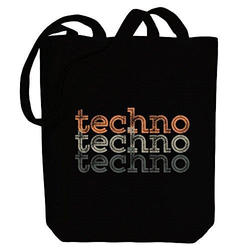Techno Bag repeat Canvas Idakoos Techno Idakoos Music Tote retro 8aEgZwq