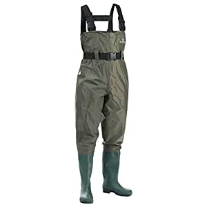 FISHINGSIR Waterproof Insulated Breathable Nylon and PVC Cleated Bootfoot Chest Fishing Waders Hunting Boots Foot with Wading Belt