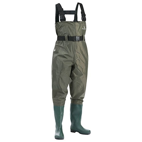 FISHINGSIR Waterproof Insulated Breathable Nylon and PVC Cleated Wading Boots Chest Fishing Waders Hunting Bootfoot with Wading Belt for Men (Fishing Belt Attachment)
