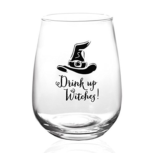 BarConic Drink Up Witches Halloween Stemless Wine Glass (17oz)