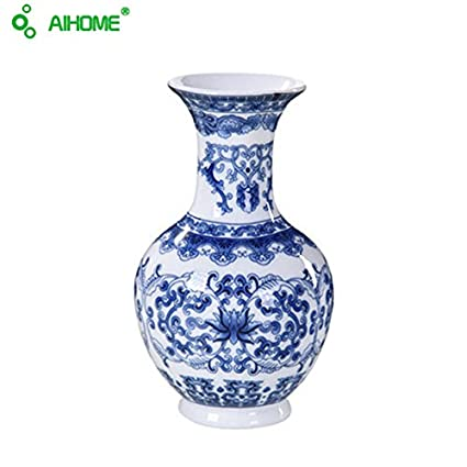 AIHOME Porcelain Handicraft Furnishing Vintage Chinese Wind Ceramic Vase  (Blue White)
