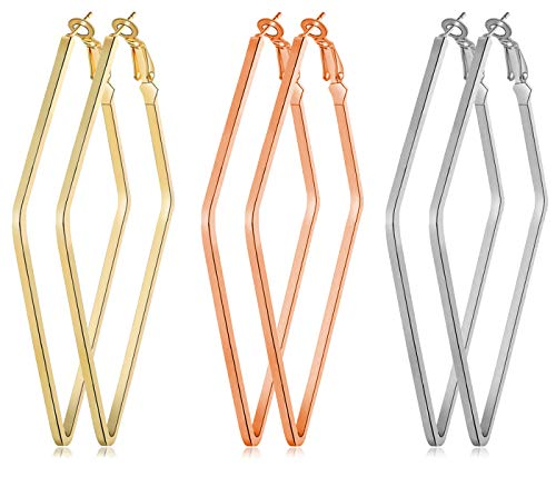 3 Pairs Stainless Steel Geometric Hoop Earrings in Gold Plated Rose Gold Plated Silver Square Triangle Rhombic Hexagon Round Hoop Earrings for Women Girls Teens Daily and Party Wear - Designer Earrings Geometric