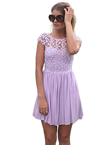 Voglee- Lady Crew Neck Sexy Floral Lace One-piece Dress (XS, Purple004)