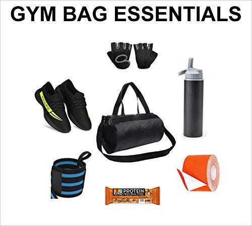41D0Izi9omL AUXTER Blacky Leatherette Gym Bag Duffel Bag Shoulder Bag for Men and Women Emboss Logo (Black)