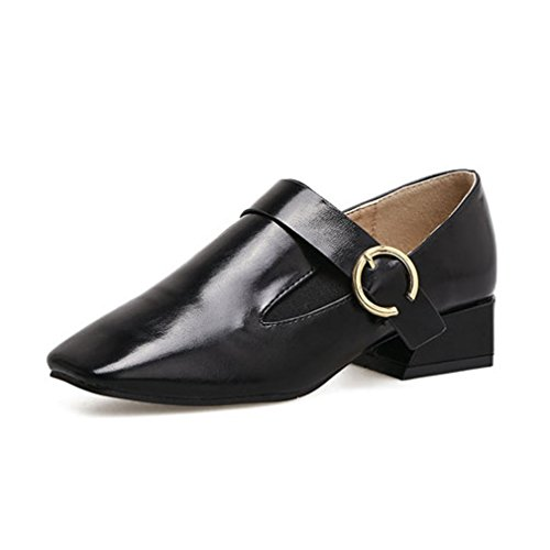 Mocassini Da Donna Squadrate Mocassini Classic Comfort Slip On Con Fibbia A Blocco Tacco Mocassino Casual Dress Nero