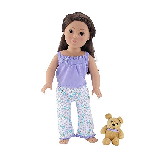 18 Inch Doll Clothes | Adorable Lavender and Blue Dragonfly Print 2 Piece Pajama PJ Doll Outfit with Teddy Bear | Fits American Girl Dolls