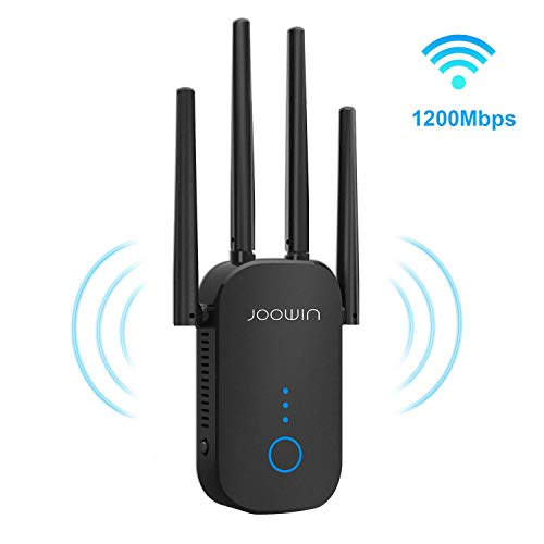 WiFi Range Extender | WiFi Extender, Repeater, WiFi Signal Booster, Access Point | Easy Set-Up | External Antennas & Compact Designed Internet Booster (1200mbps, Black)