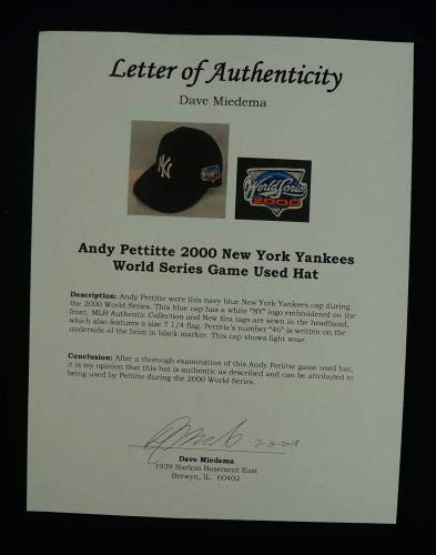 Rare Andy Pettitte Game Used 2000 World Series New York Yankees Hat With COA Game Used MLB Hats