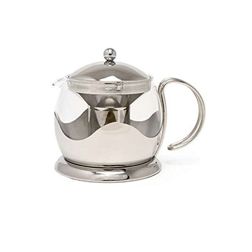 La Cafetiere Le Teapot - Teapot - Suitable for Tea Bags and Loose Leaves - Glass with Stainless Steel Frame - 4 Cup 1.2l
