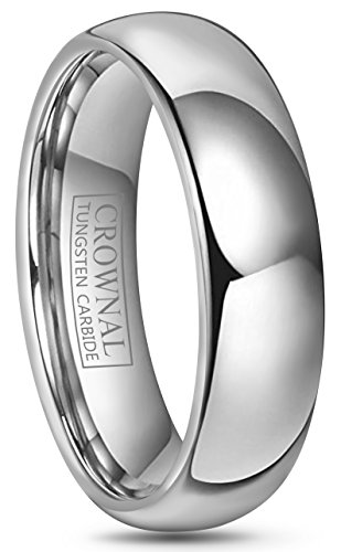 Crownal 4mm 6mm 8mm 10mm Tungsten Wedding Band Ring Men Women Plain Dome Polished Size Comfort Fit Size 3 To 17 (6mm,15)