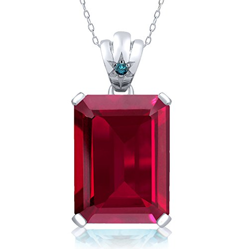 17.03 Ct Emerald Cut Red Created Ruby Blue Diamond 925 Sterling Silver Pendant