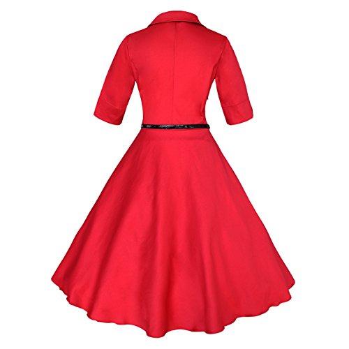 Hepburn Rot Audrey Rockabilly Kleid Maggie 50er Ballkleid Schwingen Tang Lese zq4ITR
