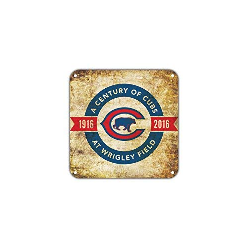 A Century of Cubs from 1916 to 2016 at Wrigley Field 100th Anniversary Vintage Retro Metal Wall Decor Art Shop Aluminum 12x12 inch Sign