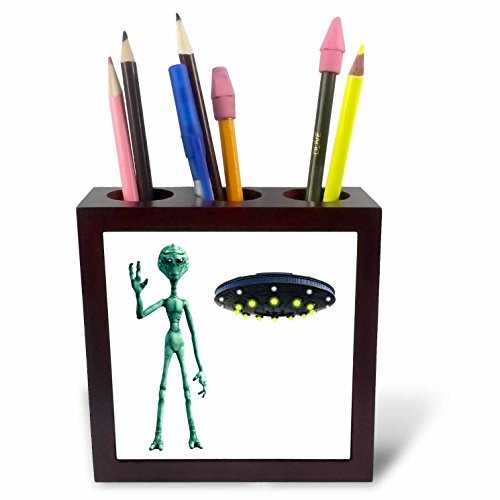 3dRose Boehm Graphics Cartoon - Cartoon Alien from Outer Space and Flying Saucer - 5 inch tile pen holder (ph_256679_1) Saucer Tile