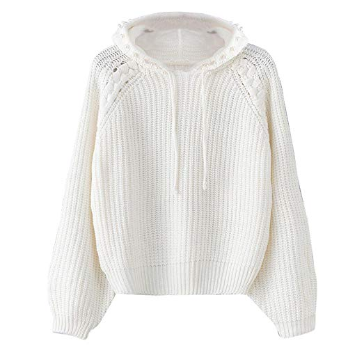 PERFURM Women Hooded Sweater Loose Long Sleeve Knitted Pullover Tops Casual Jumper New Coat Knitwear Blouse